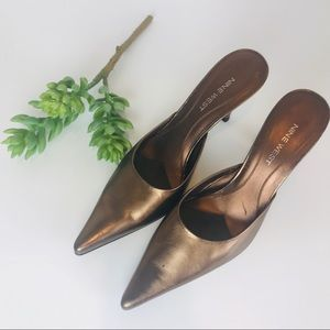 "Nine West Copper Bronze Metallic 3"" Heels"